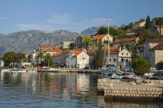 Perast town embankment, Bay of Kotor, Montenegro