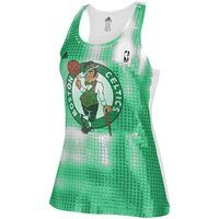adidas Boston Celtics Ladies Sublimated Sequin Tank Top - Kelly Green