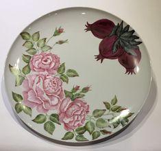 Sandra and Maria Vumbaca, Ceramic artists. Roses & Pomegranites on Porcelain Platter. Rustic Ceramics, Australian Art, Ceramic Artists, Earthenware, Clay Art, Ceramic Pottery, Platter, Glaze, Vibrant Colors