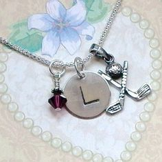 Golf Club Hand Stamped Sterling Silver Initial Charm Necklace by DolphinMoonCreations.com $32