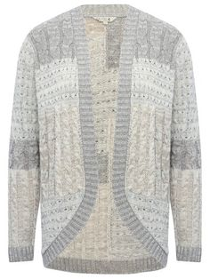 Patchwork cable knit cardigan