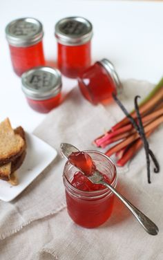 Rhubarb Vanilla Bean Jelly by Simple Bites Homemade Jelly, Jam And Jelly, Rhubarb Recipes, Jelly Recipes, Liqueur, Canning Recipes, Canning 101, Pressure Canning, Ketchup