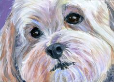 Little White DogOriginal ACEO Miniature Painting by HopeLaneArt, $75.00