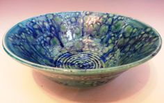 Medium wheel thrown bowl with azure blue by MarkCampbellCeramics, $35.00