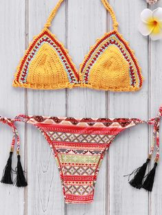 Geometric Print Crocheted Bikini Set YELLOW: Bikinis   ZAFUL   http://www.zaful.com/geometric-print-crocheted-bikini-set-p_181966.html