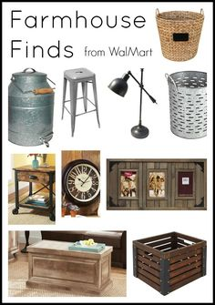 Great farmhouse style finds that can all be purchased at Walmart. Affordable quality that will match your rustic home decor.