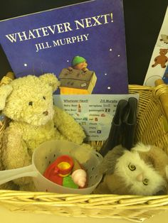 Whatever Next basket for acting out story Nursery Activities, Rhyming Activities, Activities For Kids, Nursery Stories, Book Area, Story Sack, Treasure Basket, Sensory Book, Book Baskets