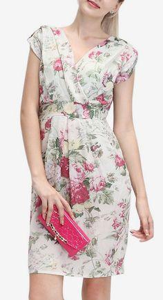 Cream & Pink Rose Surplice Dress