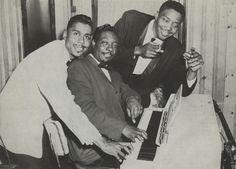 """Little Johnny Jones and Otis Spann with George 'Mojo' Buford, Chicago, late 1950s; source: Living Blues 42 (1979), p. 24 (""""Courtesy Letha Jones"""")"""