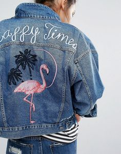 Image 3 of Pull&Bear Denim Jacket In Vintage Wash With Flamingo Motif