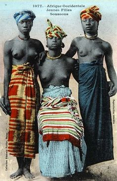 "Study, portrait of three ""SuSu"" women, French, date c. 1910. The photo was made in the area of Dakar, Senegal, West-Sudan according to the description of the Dutch Institute NMVW-collection (Tropical Museum) inventory nr, TM-60051764."