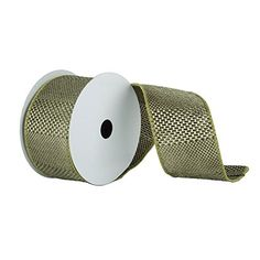 Sage Textured Wide Stripe Wired Edge Christmas and Craft Ribbon 6 x 10 Yards *** Check out the image by visiting the affiliate link Amazon.com on image.