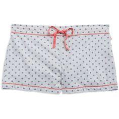 Calvin Klein Polka Dot Sleep Shorts ($19) ❤ liked on Polyvore featuring intimates, sleepwear, pajamas, shorts, polka dot fresco and calvin klein