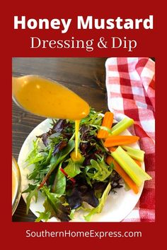 This homemade honey mustard dressing is delicious on salads and great to dip vegetables. It's easy to make with ingredients you have on hand. Honey Mustard Recipes, Homemade Honey Mustard, Easy Homemade Salsa, Salad Recipes For Parties, Vegetable Dips, Homemade Tartar Sauce, Acid Reflux Recipes, Honey Mustard Dressing, Whole Food Recipes