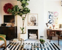 A fiddle-leaf fig tree of statuesque proportions contributes a natrual touch to the living room. Though the decor feels light and carefree, it contains a careful blend of high and low design elements.