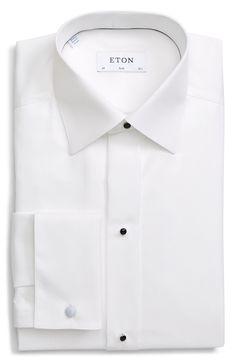 Men's Big & Tall Eton Slim Fit Textured Tuxedo Shirt, Size 18 - White Mens Big And Tall, Big & Tall, Formal Shirts, Tuxedo, Nordstrom, Slim, Shirt Dress, Texture, Cake