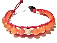 Red Aventurine and Gold Stardust Leather Woven Bracelet made by CHRISTIANIMAL