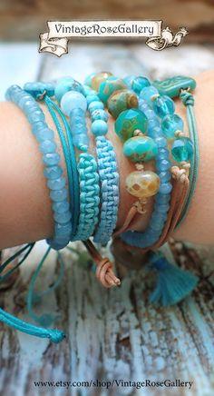 Czech Glass Leather Bohemian Bracelet , #VintageRoseGallery #etsy Boho Chic Summer Bracelet, Layered Summer Bracelet by VintageRoseGallery