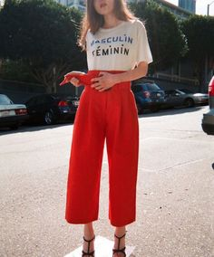 red loose trousers