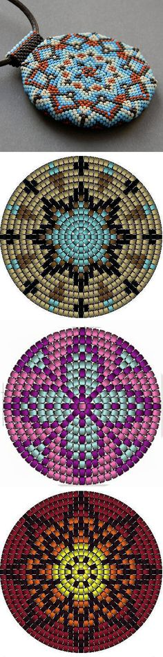 Bead weaving ring pendant pattern 3 bright geometric sample