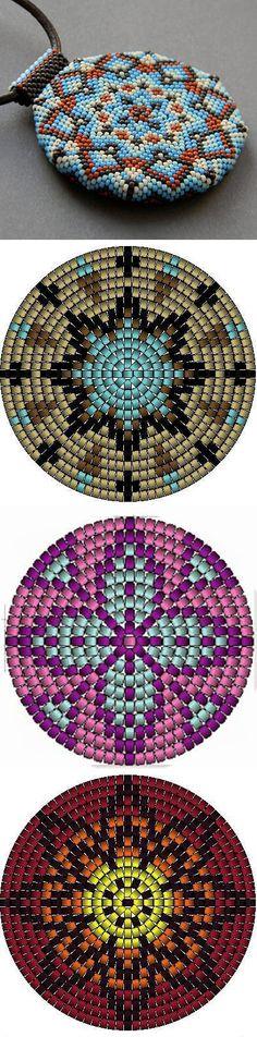 Bead weaving ring pendant pattern 3 bright geometric sample
