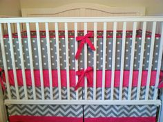 Crib Bedding Set Fuchsia And Gray Chevron