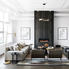 "114 Likes, 3 Comments - Christin Balzer | Interiors (@haven.studios) on Instagram: ""Good morning weekend! Loving this modern great room with the focal fireplace  repost from…"""