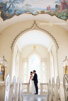 Groom kissing Bride in the Chapel Trump Winery Wedding Photographer| Bernadette + Eric Married