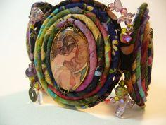 Calico Cuff mixed media bracelet by CoCoJoJoOriginals on Etsy, $62.00