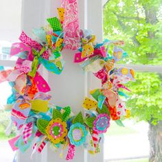 Fabric Rag Wreath | A colorful rag wreath. | Laurie | Flickr