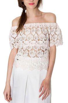Off-The-Shoulder Floral Lace Top