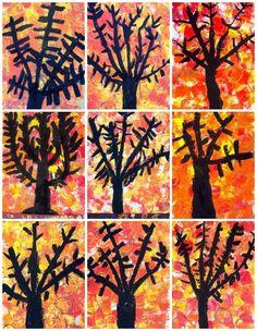 ARBRE DE TARDOR - Alumnes de 1r Material necessari: - Paper pintura DIN A-3 - Esponges i taps de plàstic - Tempera de color ...