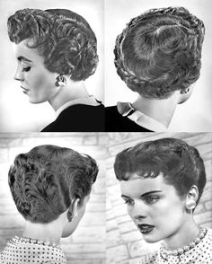 Mom had one version or another of this hairstyle until the 1980s. How hairdressers dealt with her curly hair, roller set and LOTS of hairspray. 1950's Hairstyles -  The Italian Boy