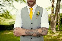 Groom with grey waistcoat and yellow tie - Picture by Marianne Taylor Photography Dewey Seasons Bridal Wedding News, Our Wedding, Dream Wedding, Wedding Stuff, Wedding 2015, Wedding Dreams, Wedding Things, Yellow Wedding Colors, Yellow Ties