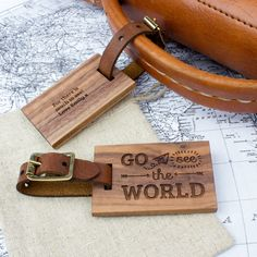 Personalised Wood Luggage Tag World
