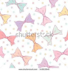 Cute bows seamless pattern - stock vector
