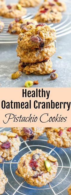 Healthy Oatmeal Cranberry Pistachio Cookies// Kathryn's Kitchen Blog