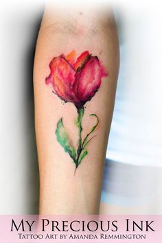 Watercolor Tulip Freehand Tattoo