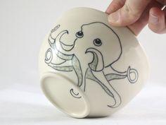 Octopus Snack Bowl  Ceramic Dessert Ice Cream $2800