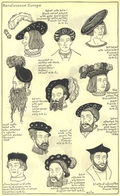 "Renaissance Europe, Chapter plate ""Mode in Hats and Headdresses"" by R Turner Wilcox Renaissance Hut, Costume Renaissance, Medieval Costume, Renaissance Fashion, Renaissance Clothing, Historical Costume, Historical Clothing, Vintage Outfits, Vintage Fashion"