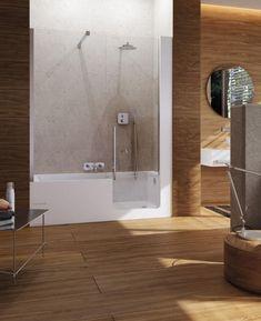 Built-in bathtub-shower combination / rectangular / acrylic ELLE DOOR GLASS 1989 Bathtub Shower Combo, Bathroom Tub Shower, Laundry In Bathroom, Ideal Bathrooms, Modern Bathroom, Small Bathroom, Shared Bathroom, Built In Bathtub, Small Bathtub