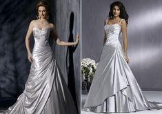 Az ezüstösen fénylő anyagból készült menyasszonyi ruha még nem olyan extrém választás, de mindenképpen rendhagyó.