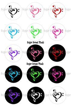 Treble Bass Heart Music Symbol  1 inch Circle by sugarnspicebow, $1.80