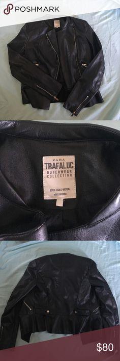 Zara Leather Jacket! Rad jacket! Has an asymmetrical zipper and super soft! ❌Trades❌Holds Zara Jackets & Coats