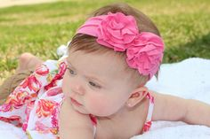 Perfect for Spring/Easter.  Made from jersey knit, these headbands are super soft and won't mark your baby's head!