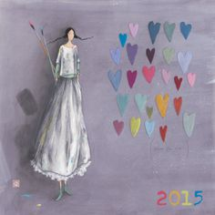 "Gaëlle Boissonnard calendrier 2015 (30x30 cm) ""Peindre des coeurs"""