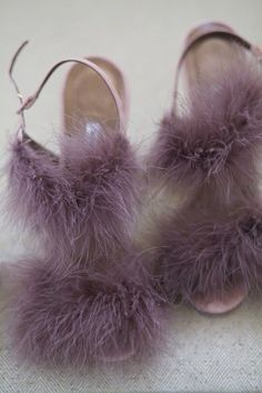 mauve fluffy heels/ I weirdly LOVE THESE! Like it's from a 30's boudoir ad!