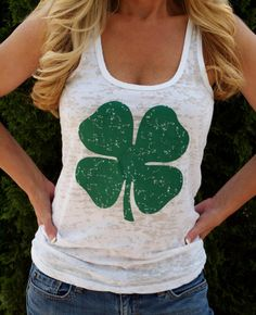 St. Patrick's Day Shamrock Womens Workout Tank Top. Exercise Tank. Running Tank. Fitness shirt. Burnout Workout Tank. Fun Run.