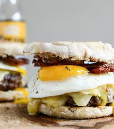 Breakfast Sandwich Recipe: Breakfast Burgers with Maple Aioli / (via How Sweet It Is)