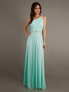 A-line Applique One Shoulder Party Dress.
